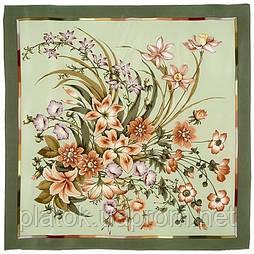 Чистые росы 661-10, павлопосадский платок (крепдешин) шелковый с подрубкой