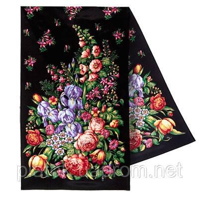 Ніжний дотик 1398-18, павлопосадский шовковий шарф крепдешиновый з подрубкой