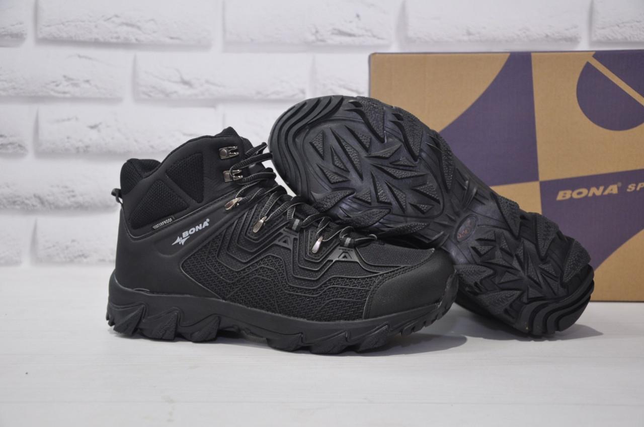 Чоловічі чорні високі водонипроницаемые черевики на мембрані BONA
