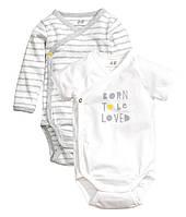 Детские боди для новорожденных (2 шт)  2-4, 6-9 месяцев