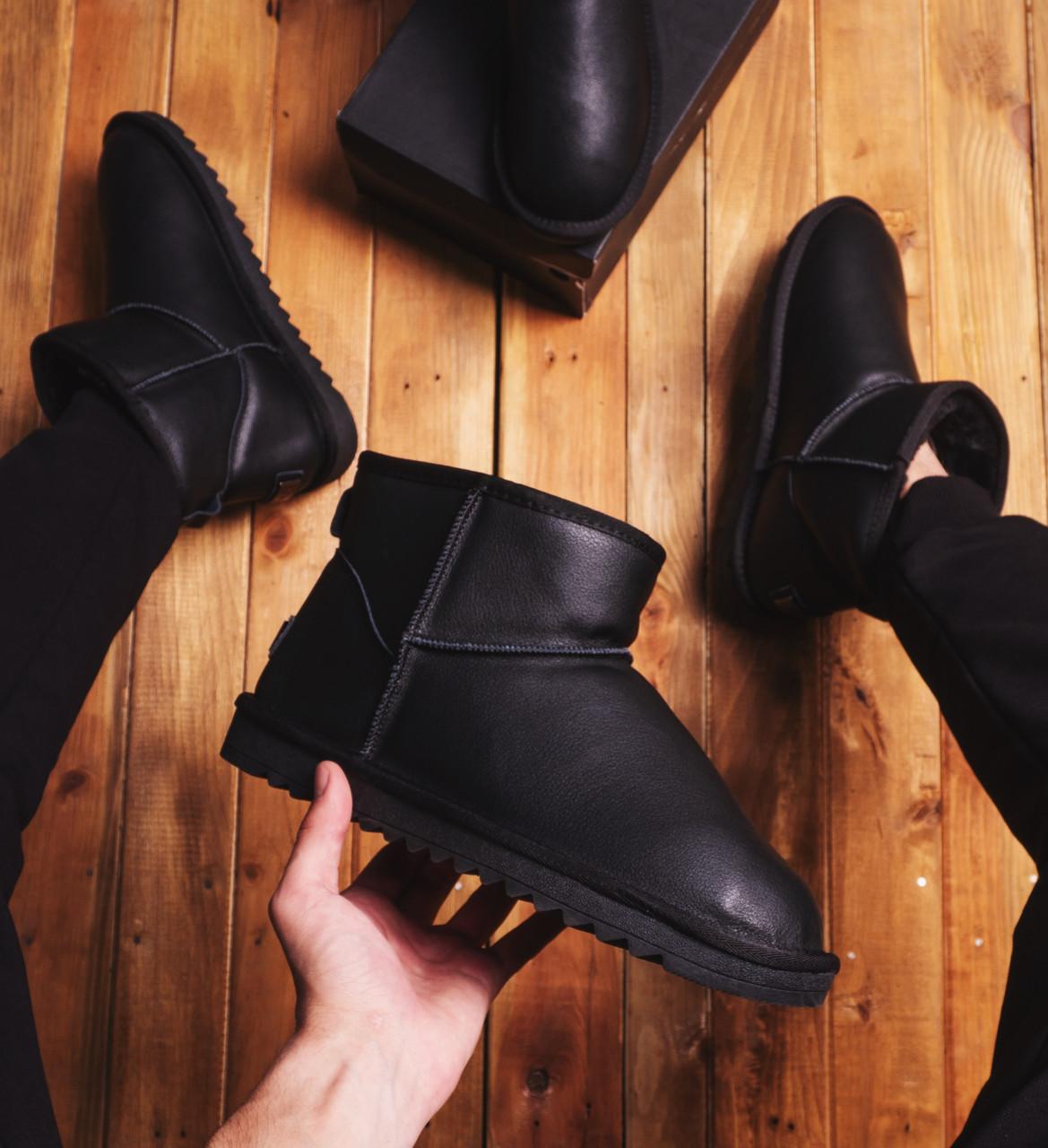Мужские Угги Лайт кожаные (черные)