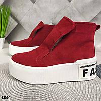 Красные замшевые женские ботинки на меху, фото 1