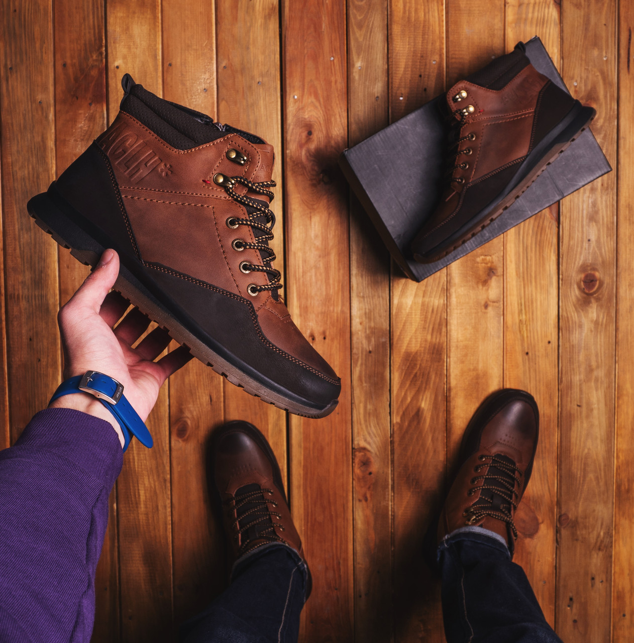 Мужские ботинки Калах высокие спорт (коричневые)