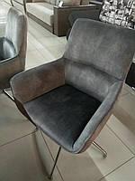 Поворотное кресло Торонто Toronto серый велюр с подлокотниками