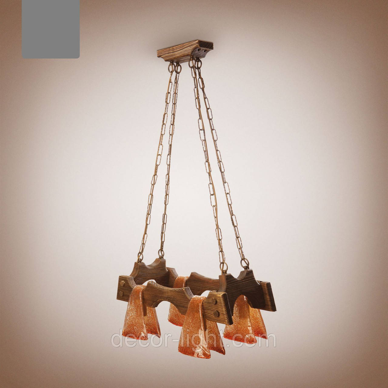 Люстра деревянная, 4-х ламповая 1414