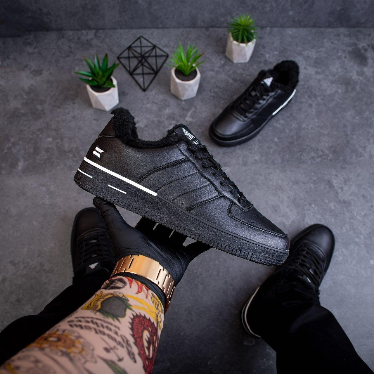 Мужские зимние кроссовки Стилли форс флаг (черно - белые)