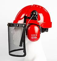 Комплект защиты головы (каска, щиток, наушники) Sizam Forest красный 35019, фото 1