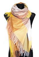 Теплий шарф Марлін клітина 180*75 см гірчичний