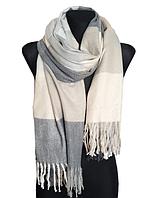 Теплий шарф Марлін клітина 180*75 см світло-сірий