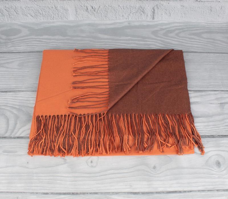 Кашемировый двусторонний шарф, палантин оранжевый Cashmere 7280-21