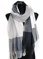 Теплий шарф Марлін клітина 180*75 см графіт/білий