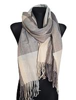 Теплий шарф Марлін клітина 180*75 см сірий