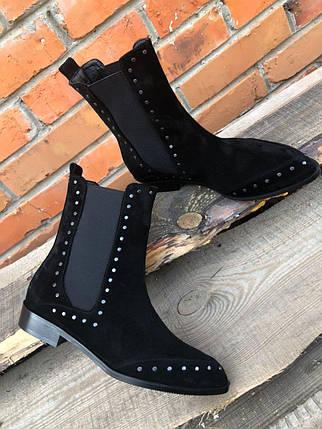 Модні черевики з натуральної замші вільного одягання з заклепками 36-40 р, фото 2