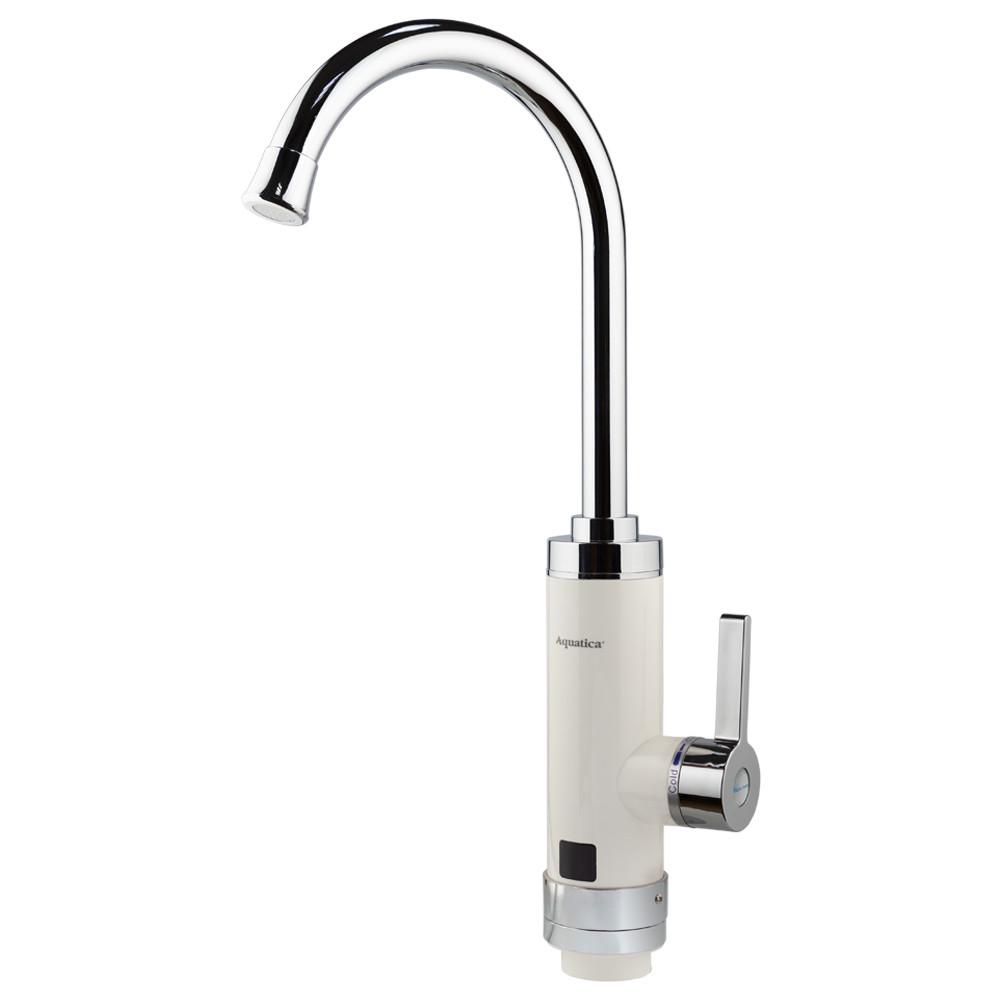Кран-водонагрівач проточний HZ 3.0 кВт 0,4-5бар для кухні гусак вухо на гайці (W) AQUATICA (HZ-6B143W)