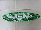 Скейт Пенни борд Penny board, с бесшумными светящимися колесами, с ручкой, Листья, фото 2