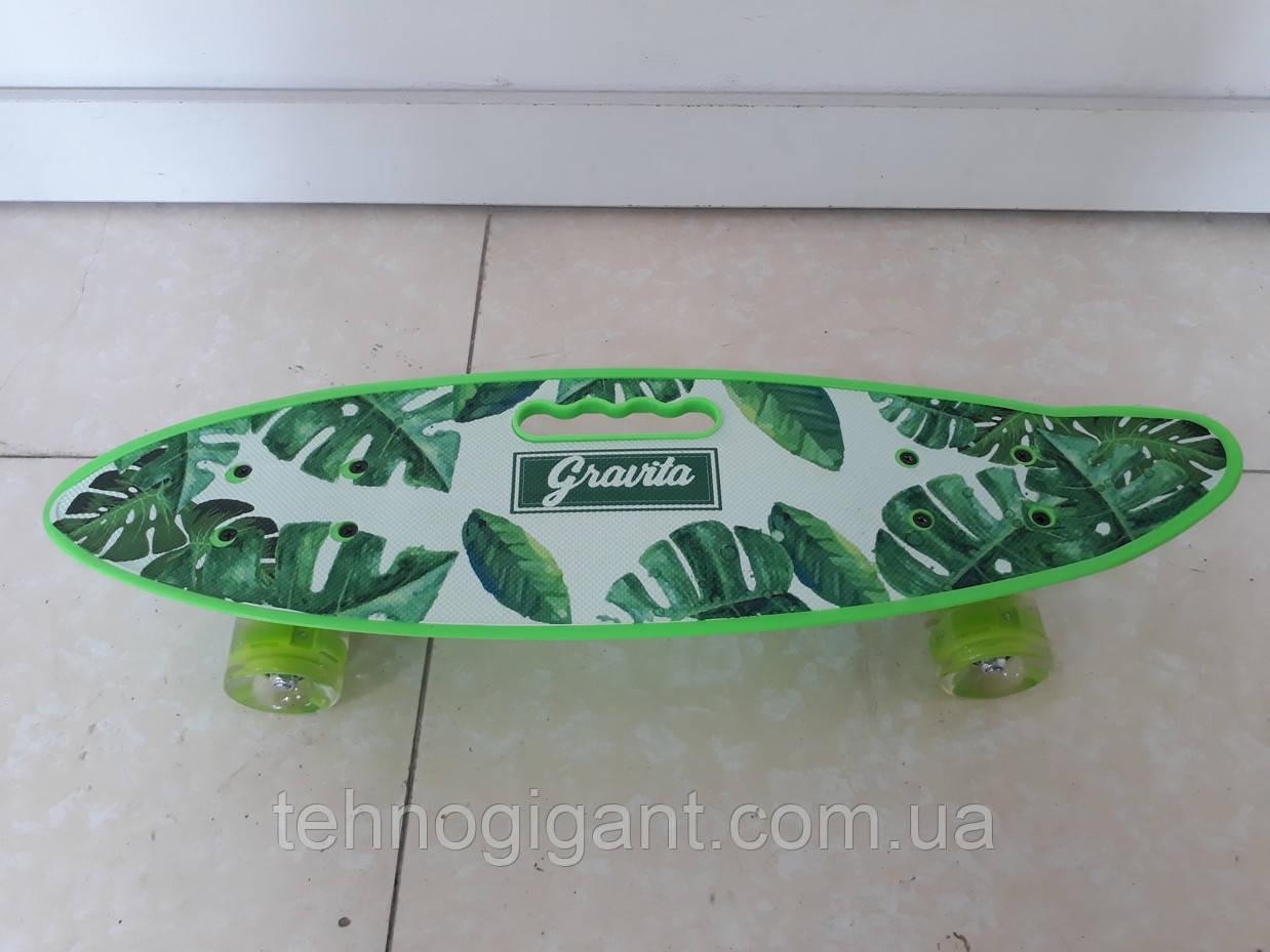 Скейт Пенни борд Penny board, с бесшумными светящимися колесами, с ручкой, Листья
