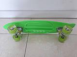 Скейт Пенни борд Penny board, с бесшумными светящимися колесами, с ручкой, Листья, фото 3