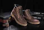 Мужские ботинки кожаные зимние коричневые-матовые. Мужские зимние ботинки на шнуровке, фото 2