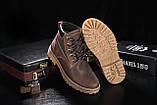 Мужские ботинки кожаные зимние коричневые-матовые. Мужские зимние ботинки на шнуровке, фото 3