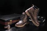 Мужские ботинки кожаные зимние коричневые-матовые. Мужские зимние ботинки на шнуровке, фото 5