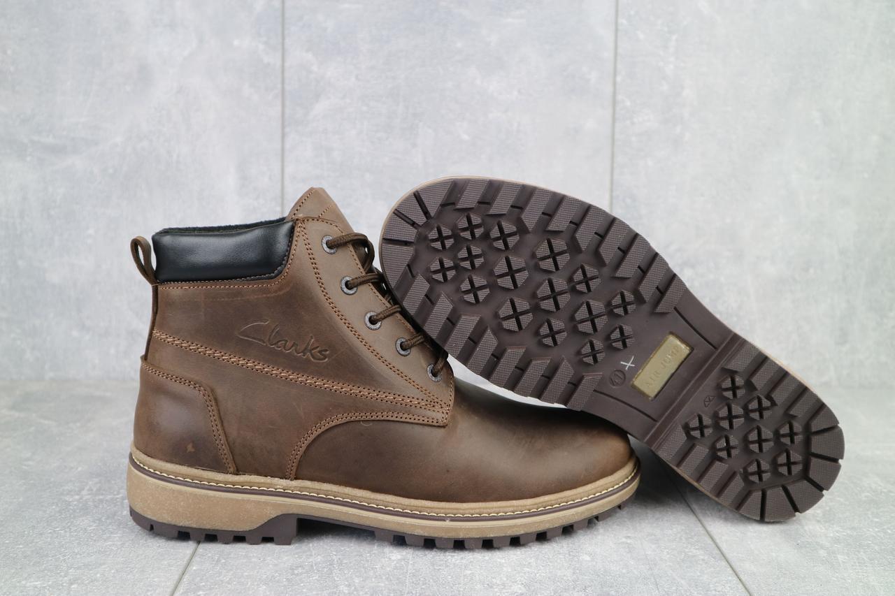 Мужские ботинки кожаные зимние коричневые-матовые. Мужские зимние ботинки на шнуровке