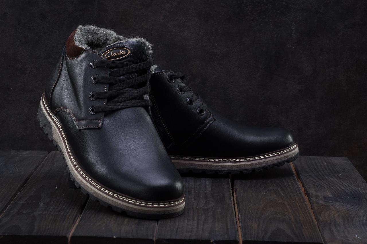 Clanks Мужские ботинки кожаные зимние черные. Мужские ботинки на шнуровке  зима