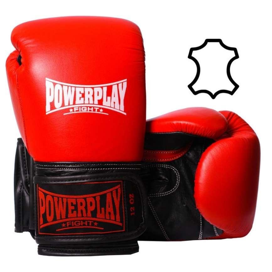 Боксерські рукавиці PowerPlay 3015 Червоні, натуральна шкіра 16 унцій SKL24-144010