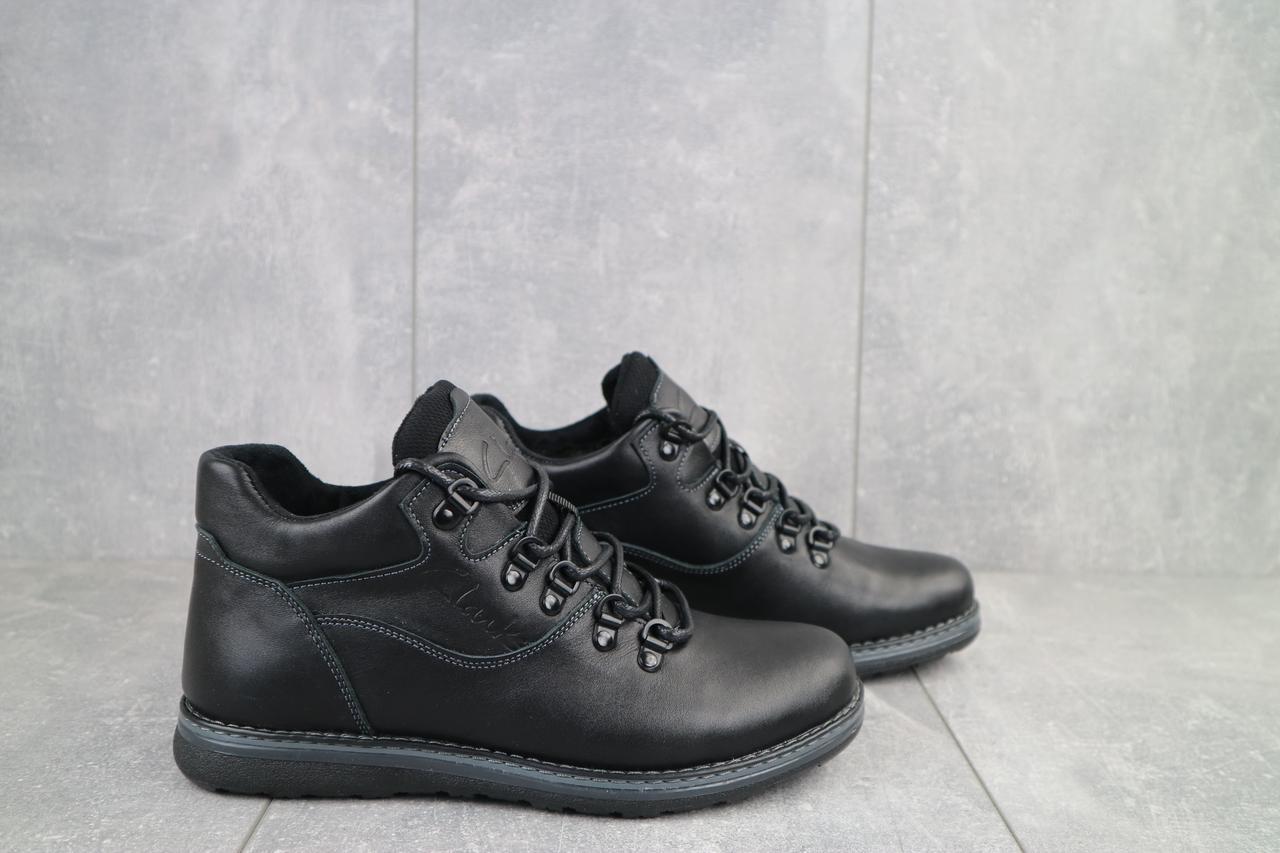 Clarks Мужские ботинки кожаные зимние черные. Мужские ботинки на шнуровке зима