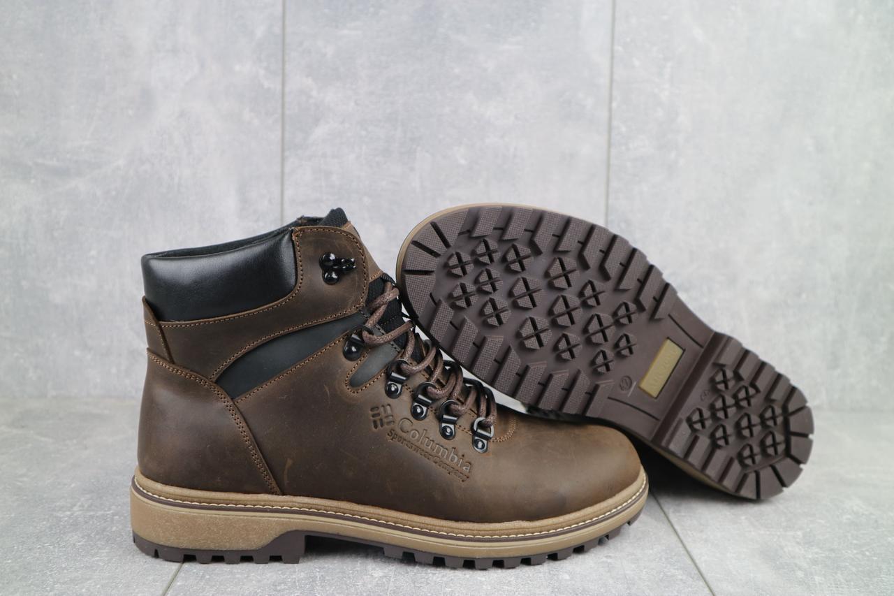 Columbia Мужские ботинки кожаные зимние коричневые-матовые. Мужские ботинки с мехом на шнурках