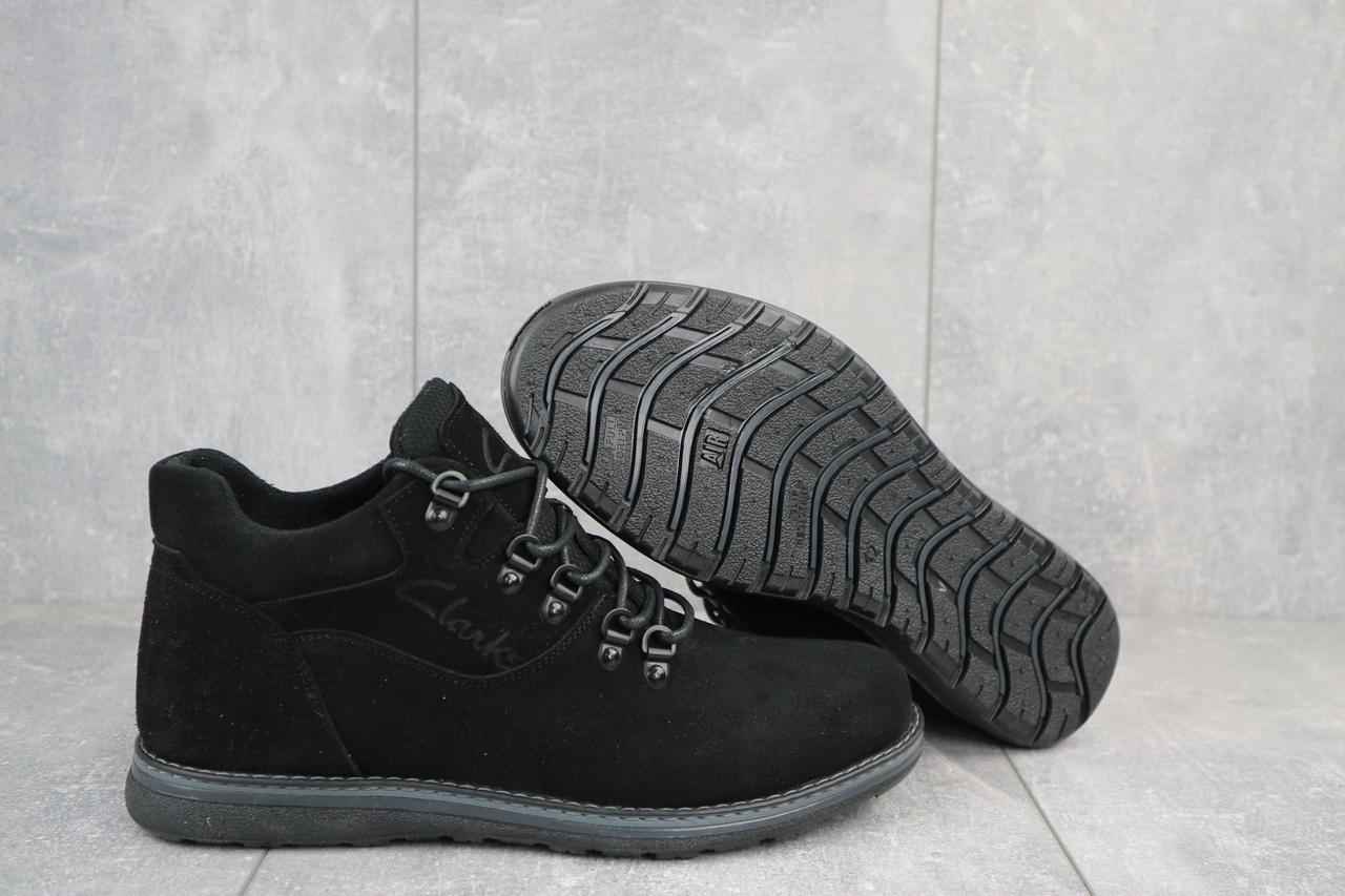 Сlarks Мужские ботинки замшевые зимние черные. Мужские ботинки на шнуровке зима
