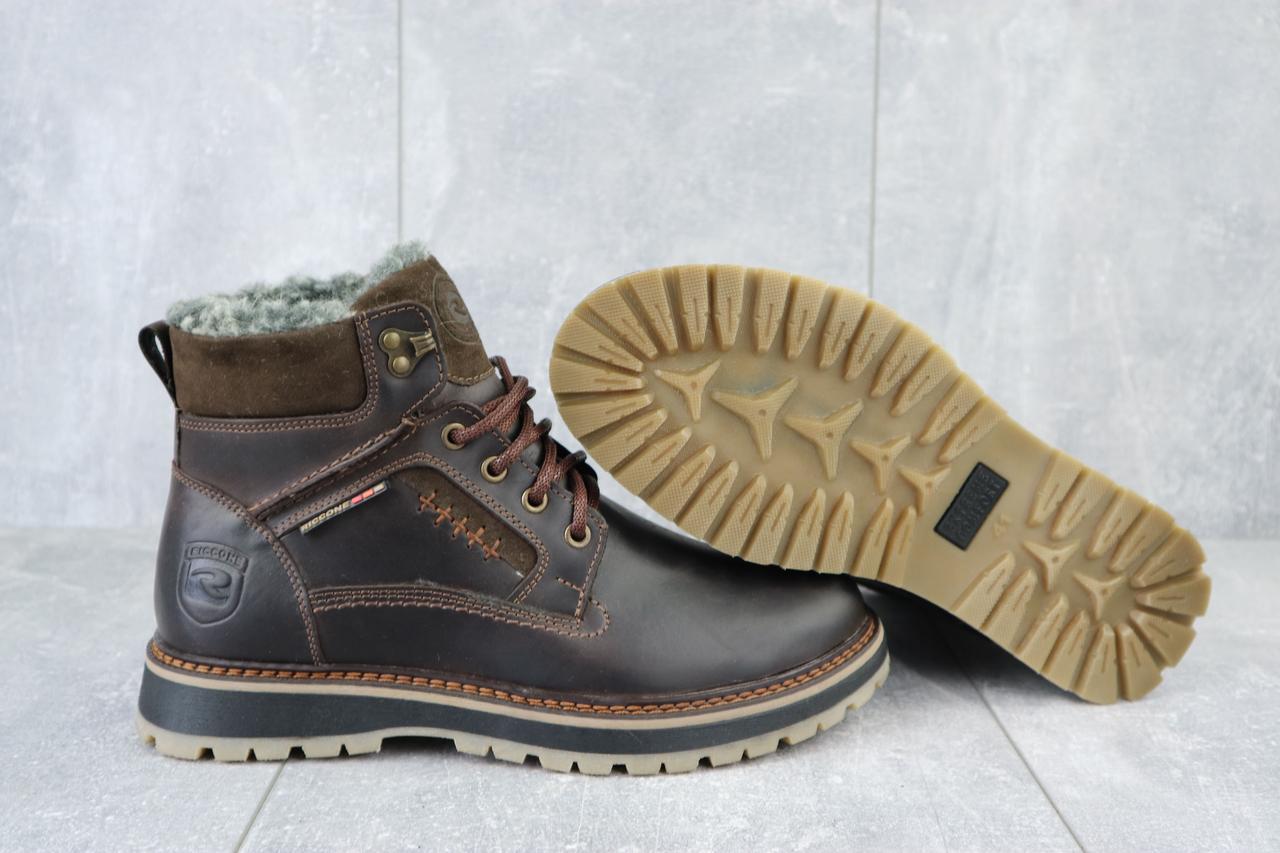 Riccone Мужские ботинки кожаные зимние коричневые. Мужские ботинки с мехом на шнуровке зима