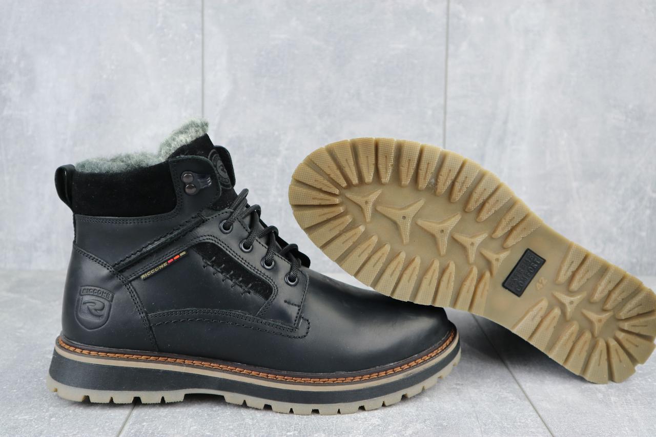 Riccone Мужские ботинки кожаные зимние черные. Мужские ботинки с мехом на шнуровке зима