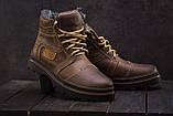Riccone Мужские ботинки кожаные зимние оливковые. Мужские ботинки на меху со шнурками, фото 2