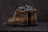 Riccone Мужские ботинки кожаные зимние оливковые. Мужские ботинки на меху со шнурками, фото 4