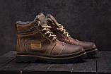Riccone Мужские ботинки кожаные зимние оливковые. Мужские ботинки на меху со шнурками, фото 5