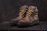 Riccone Мужские ботинки кожаные зимние оливковые. Мужские ботинки на меху со шнурками, фото 6