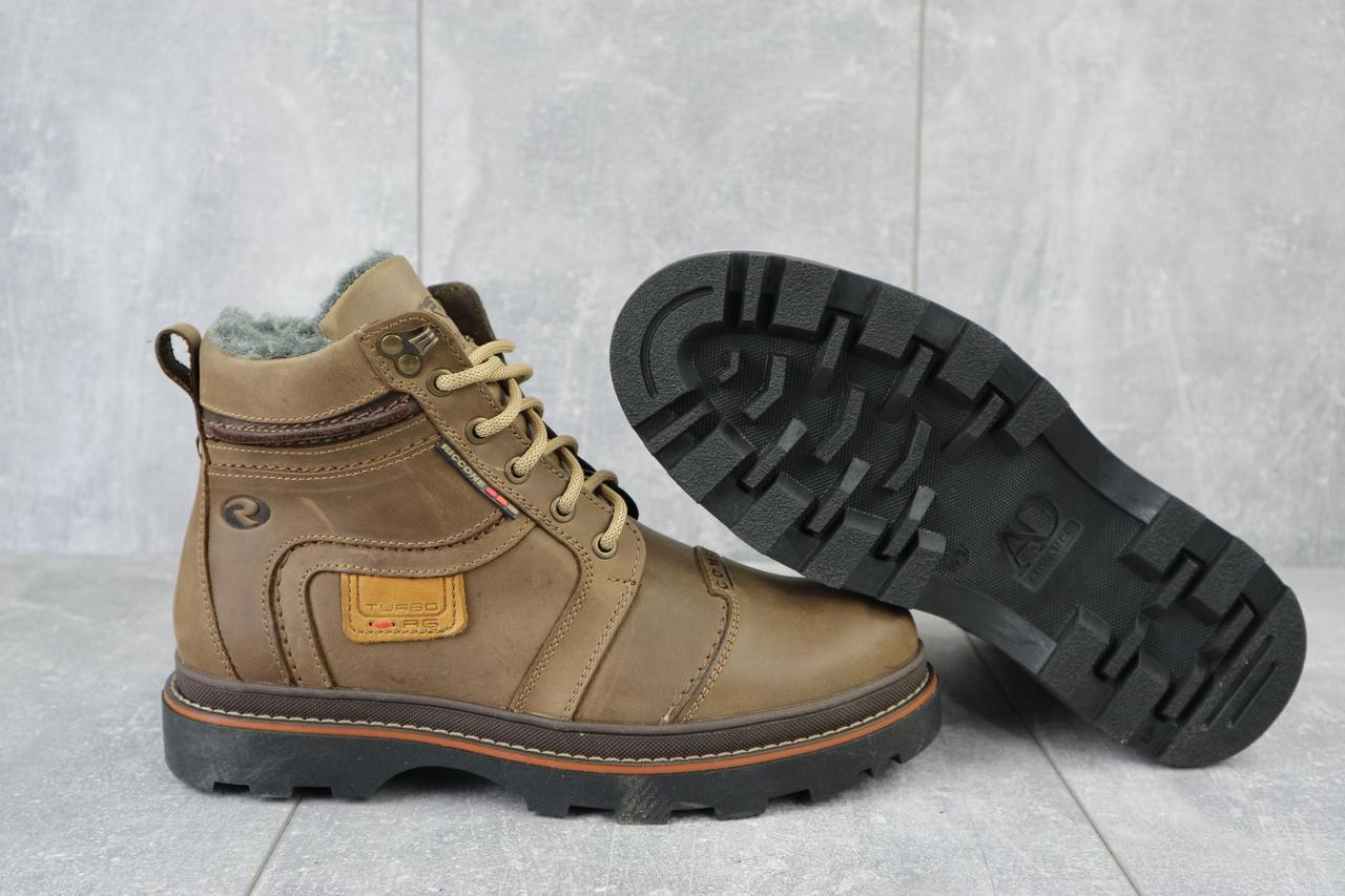Riccone Мужские ботинки кожаные зимние оливковые. Мужские ботинки на меху со шнурками