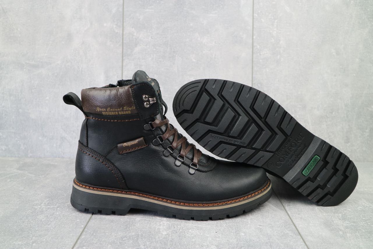 Zangak Мужские ботинки кожаные зимние черные. Мужские ботинки на меху со шнуровкой зима