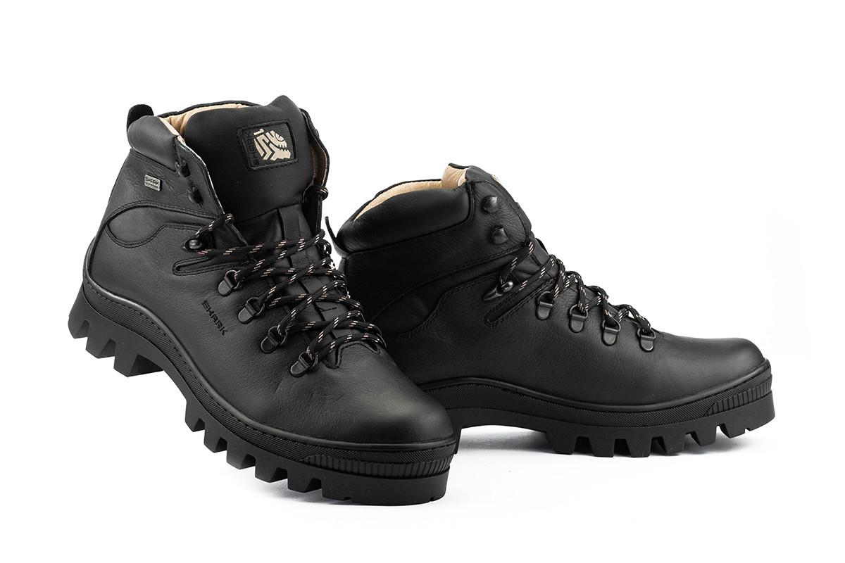 Shark Мужские ботинки кожаные зимние черные. Мужские ботинки с мехом на шнуровке зима