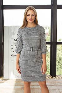 Модное теплое деловое платье в клетку с поясом 44,46,48,50,52 размер
