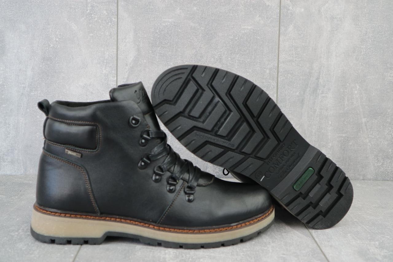 Yuves  Мужские ботинки кожаные зимние черные. Мужские ботинки на шнуровке и молнии зима
