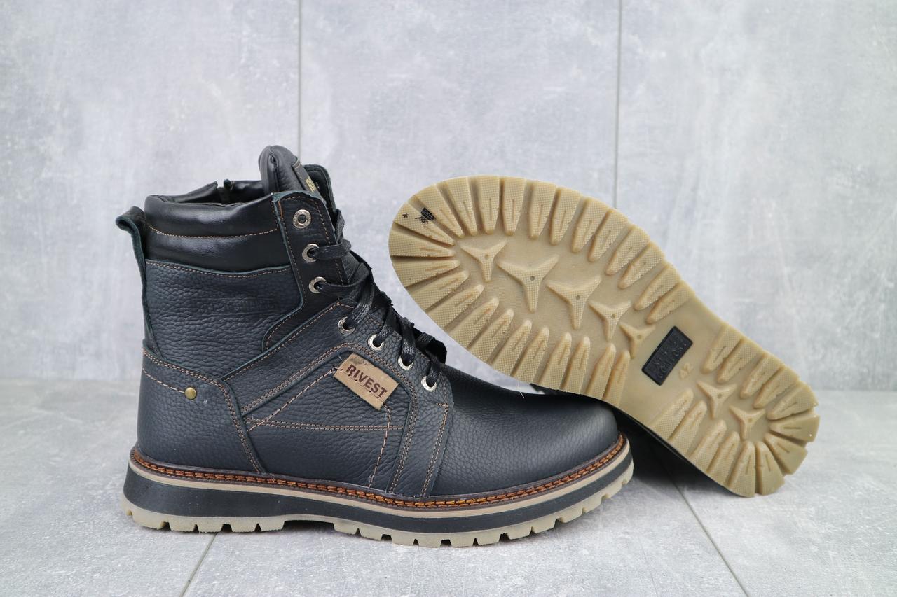 Rivest Мужские ботинки кожаные зимние черные.Мужские ботинки на шнуровке и молнии зима