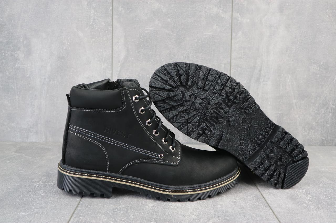 Rivest Мужские ботинки кожаные зимние черные. Мужские ботинки зимние на молнии и шнуровке