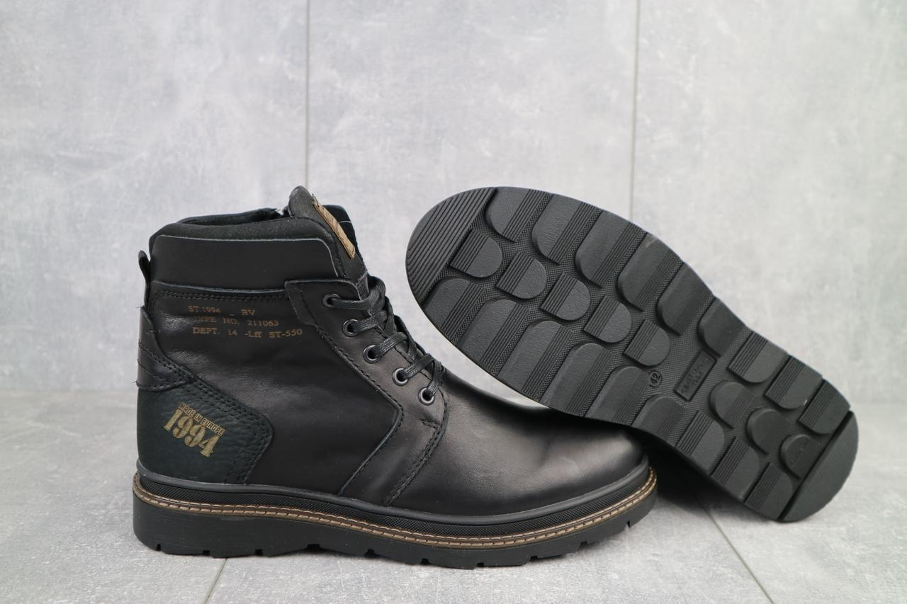 Belvas Мужские ботинки кожаные зимние черные. Мужские ботинки кожаные на шнуровке