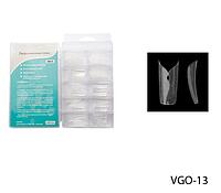 Прозрачные слегка зауженные типсы с ромбовидным отверстием Lady Victory LDV VGO-13 /82-0