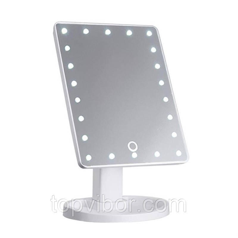 Косметическое зеркало с подсветкой, Magic Makeup Mirror (22 LED), на подставке, с сенсором, белое