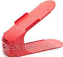 Двойная пластиковая стойка-подставка для хранения обуви - красный (ACC)