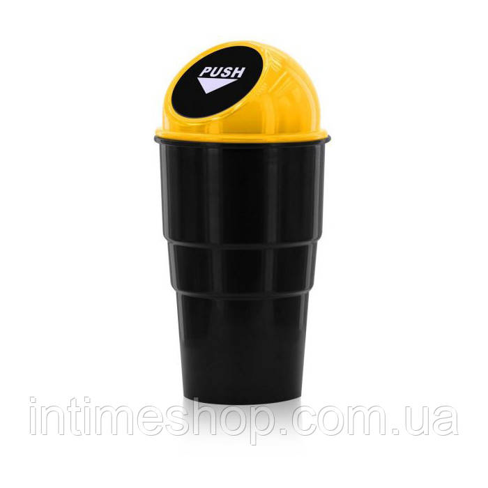 Мусорное ведро с крышкой, на дверь, в автомобиль, Car Trash Bin, вид - чёрное с желтой крышкой (TI)