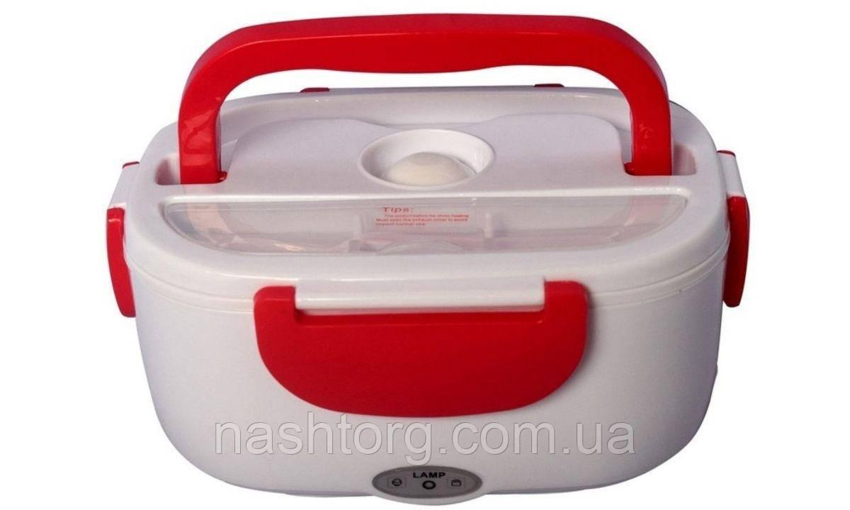 Автомобильный ланч бокс с подогревом, термоконтейнер для еды, YS-001, с кабелем 220V, цвет - красный