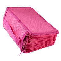 Тканевый пенал, на молнии, раскладной, для девочки, цвет - розовый, фото 1